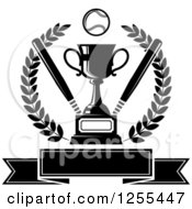 Clipart Of A Black And White Championship Trophy With Bats And A Baseball In A Wreath Over A Banner Royalty Free Vector Illustration