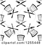 Clipart Of A Seamless Black And White Pattern Of Chef Hats And Cutlery Royalty Free Vector Illustration