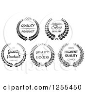 Clipart Of Black And White Quality Wreath Labels Royalty Free Vector Illustration