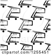 Clipart Of A Seamless Background Pattern Of Black And White Shopping Carts Royalty Free Vector Illustration