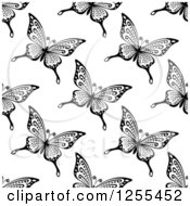 Clipart Of A Seamless Black And White Butterfly Background Pattern 8 Royalty Free Vector Illustration