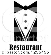 Clipart Of A Black And White Waiter Tie And Restaurant Text Royalty Free Vector Illustration