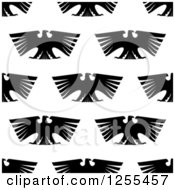 Clipart Of A Seamless Background Pattern Of Black Eagles Royalty Free Vector Illustration