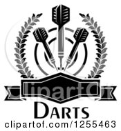 Clipart Of Black And White Darts And A Target In A Laurel Wreath With A Frame And Text Royalty Free Vector Illustration