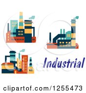 Clipart Of Colorful Factories And Text Royalty Free Vector Illustration