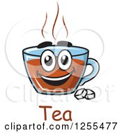 Clipart Of A Happy Tea Cup Character With Sugar Cubes And Text Royalty Free Vector Illustration