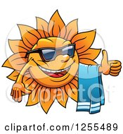 Clipart Of A Happy Summer Sun Holding A Thumb Up And Towel Royalty Free Vector Illustration