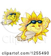 Clipart Of Happy Summer Suns Carrying Surfboards Royalty Free Vector Illustration by Vector Tradition SM