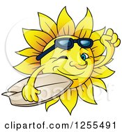 Clipart Of A Happy Summer Sun Carrying A Surfboard Royalty Free Vector Illustration by Vector Tradition SM