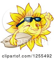 Clipart Of A Winking Summer Sun Carrying A Surfboard Royalty Free Vector Illustration by Vector Tradition SM