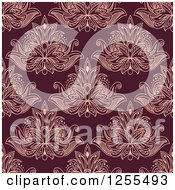 Clipart Of A Seamless Pattern Background Of Lotus Henna Flowers Royalty Free Vector Illustration