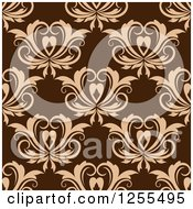 Clipart Of A Seamless Brown Floral Heart Background Royalty Free Vector Illustration