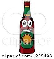 Clipart Of A Cartoon Happy Beer Bottle Royalty Free Vector Illustration