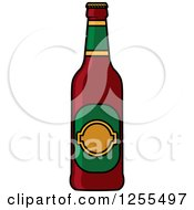 Clipart Of A Cartoon Beer Bottle Royalty Free Vector Illustration