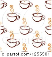 Clipart Of A Seamless Pattern Background Of Coffee Cups Royalty Free Vector Illustration