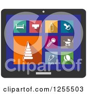Clipart Of A Tablet Screen With Baby Icons Royalty Free Vector Illustration