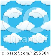 Clipart Of A Seamless Pattern Background Of Puffy Clouds On Blue Royalty Free Vector Illustration by Vector Tradition SM
