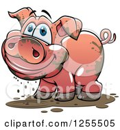 Clipart Of A Happy Muddy Pig Royalty Free Vector Illustration