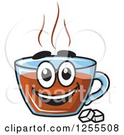 Clipart Of A Happy Tea Cup Character With Sugar Cubes Royalty Free Vector Illustration