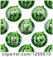 Clipart Of A Seamless Background Pattern Of Happy Watermelons Royalty Free Vector Illustration