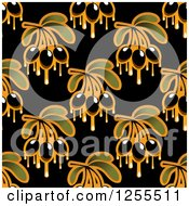 Clipart Of A Seamless Black Olive And Oil Background Pattern Royalty Free Vector Illustration