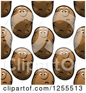 Clipart Of A Seamless Happy Potato Pattern Royalty Free Vector Illustration