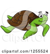 Clipart Of A Swimming Sea Turtle Royalty Free Vector Illustration by Vector Tradition SM