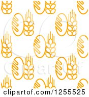 Clipart Of A Seamless Bread And Wheat Background Royalty Free Vector Illustration