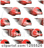 Clipart Of A Red Flaming Racing Helmet Pattern Royalty Free Vector Illustration