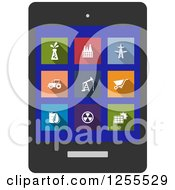 Clipart Of A Industrial Icons On A Tablet Royalty Free Vector Illustration