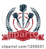 Clipart Of Darts And A Target In A Laurel Wreath With A Frame Royalty Free Vector Illustration
