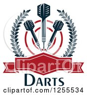 Clipart Of Darts And A Target In A Laurel Wreath With A Frame And Text Royalty Free Vector Illustration