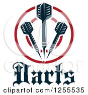 Clipart Of Darts And A Target With Text Royalty Free Vector Illustration