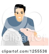 Clipart Of A Happy Black Haired Man Holding Wool Petting A Sheep Royalty Free Vector Illustration