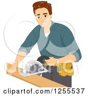 Clipart Of A Brunette White Man Operating A Circular Saw Royalty Free Vector Illustration by BNP Design Studio