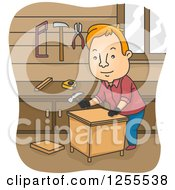 Clipart Of A Red Haired White Man Building A Table In A Wood Shop Royalty Free Vector Illustration by BNP Design Studio