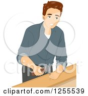 Clipart Of A Brunette White Man Hammering A Nail Into Wood Royalty Free Vector Illustration by BNP Design Studio
