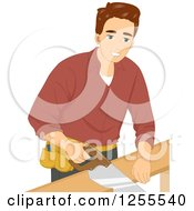 Clipart Of A Brunette White Man Using A Hand Saw Royalty Free Vector Illustration by BNP Design Studio