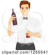 Clipart Of A Brunette White Man Bartender Holding A Bottle And Glass Royalty Free Vector Illustration by BNP Design Studio