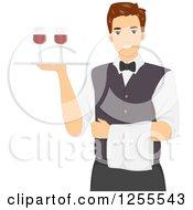 Clipart Of A Brunette White Man Waiter Serving Wine Royalty Free Vector Illustration by BNP Design Studio