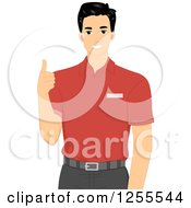 Clipart Of A Young Black Haired Camp Staff Man Holding A Thumb Up Royalty Free Vector Illustration by BNP Design Studio