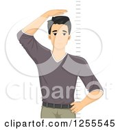 Clipart Of A Young Black Haired Man Sad Over His Height Royalty Free Vector Illustration