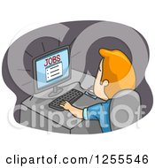 Clipart Of A Blond White Man Searching For Jobs On The Internet Royalty Free Vector Illustration