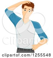 Clipart Of A Casual Brunette White Man Scratching His Head Royalty Free Vector Illustration
