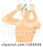 Clipart Of A Muscular White Man Shampooing His Hair Royalty Free Vector Illustration