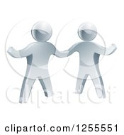 Clipart Of 3d Silver Men Shaking Hands And One Presenting Royalty Free Vector Illustration