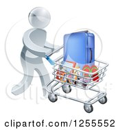 Clipart Of A 3d Silver Man Pushing Travel Accessories In A Shopping Cart Royalty Free Vector Illustration by AtStockIllustration