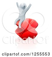 Clipart Of A 3d Silver Man Sitting And Cheering On A Cross Royalty Free Vector Illustration