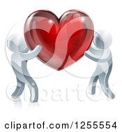 Clipart Of Two 3d Silver People Carrying A Red Heart Royalty Free Vector Illustration by AtStockIllustration