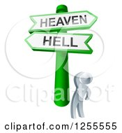 Clipart Of S 3d Silver Man Looking Up At Heaven Or Hell Arrow Signs Royalty Free Vector Illustration